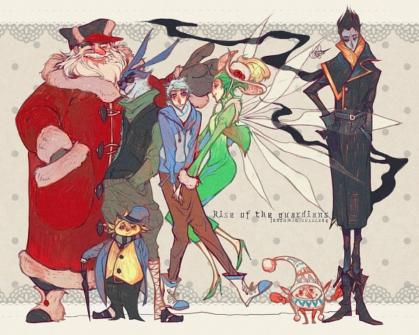 Tags: Anime, Josco, Rise of the Guardians, E. Aster Bunnymund, Nicholas St. North, Sandman (Rotg), Jack Frost, Toothiana, Pitch Black, Bird Person, Pixiv, Fanart, Fanart From Pixiv