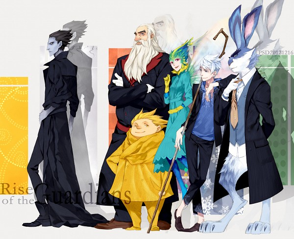 Tags: Anime, PSD, Rise of the Guardians, Sandman (Rotg), Jack Frost, Toothiana, Pitch Black, E. Aster Bunnymund, Nicholas St. North, Bird Person, Fanart