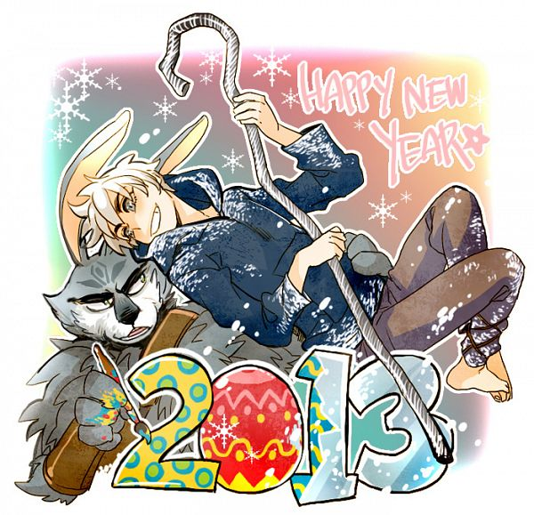 Tags: Anime, Bingo (Habanera), Rise of the Guardians, Jack Frost, E. Aster Bunnymund, Easter, Blue Hoodie, Fanart, Happy 2013, Tumblr