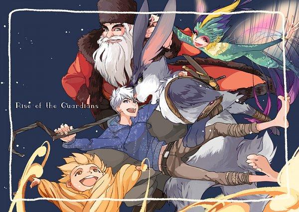 Tags: Anime, Kiu (Mangaka), Rise of the Guardians, E. Aster Bunnymund, Nicholas St. North, Jack Frost, Sandman (Rotg), Toothiana, Bird Person, Fanart From Pixiv, Pixiv, Fanart