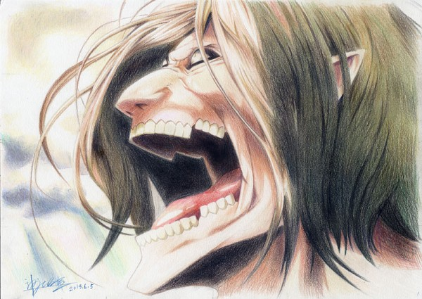 Tags: Anime, Pixiv Id 454491, Attack on Titan, Eren Jaeger, Rogue Titan, Traditional Media, Pixiv