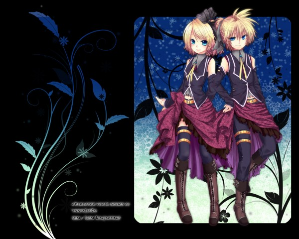 Tags: Anime, Chirota, Project DIVA 2nd, VOCALOID, Kagamine Len, Kagamine Rin, Romeo and Cinderella, Wallpaper, Pixiv