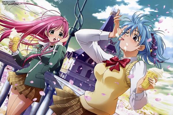 Tags: Anime, Nakamura Miyuki, Rosario + Vampire, Comp H's 9, Kurono Kurumu, Akashiya Moka, Official Art, Scan