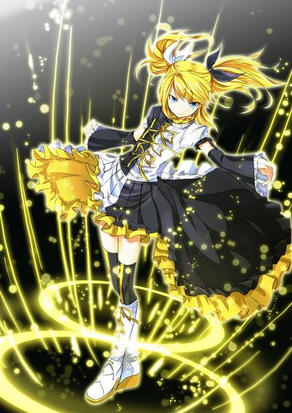 Tags: Anime, MtU, VOCALOID, Kagamine Rin, Asymmetrical Clothing, Pixiv, Mobile Wallpaper, Roshin Yuukai, Meltdown