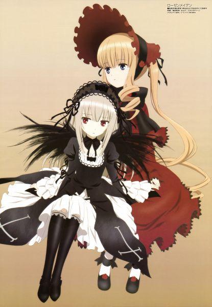 Tags: Anime, Ueda Kazuyuki, Studio Deen, Rozen Maiden, Megami #161 2013-10, Shinku, Suigintou, Gothic Outfit, Official Art, Mobile Wallpaper, Scan