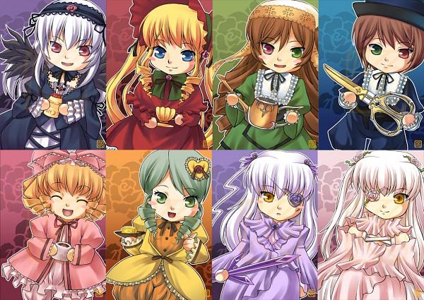 Tags: Anime, Rozen Maiden, Kirakishou, Suigintou, Barasuishou, Suiseiseki, Kanaria, Shinku, Souseiseki, Hina Ichigo, Daifuku, Watering Can