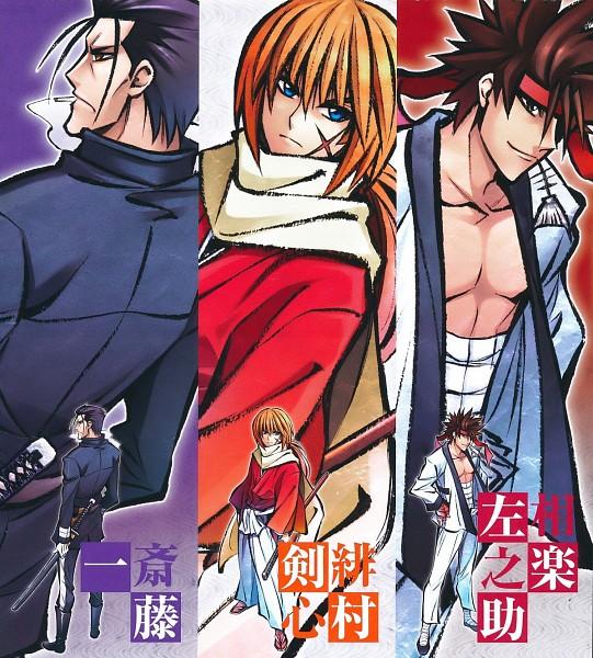 Tags: Anime, Watsuki Nobuhiro, Rurouni Kenshin, Saitou Hajime (Rurouni Kenshin), Sagara Sanosuke, Himura Kenshin, Meiji Swordsman Romantic Story