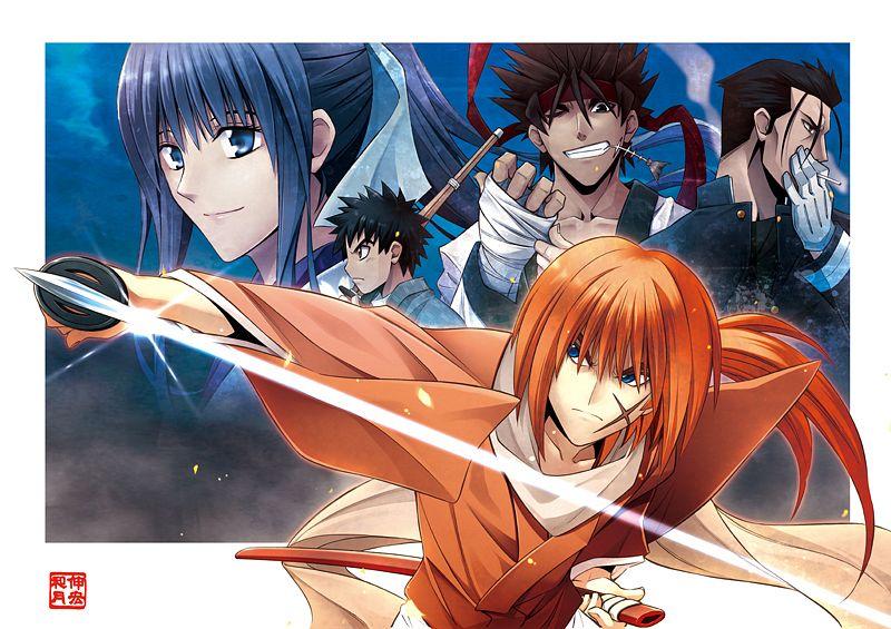 Tags: Anime, Watsuki Nobuhiro, Rurouni Kenshin, Myoujin Yahiko, Kamiya Kaoru, Sagara Sanosuke, Saitou Hajime (Rurouni Kenshin), Official Art, Meiji Swordsman Romantic Story