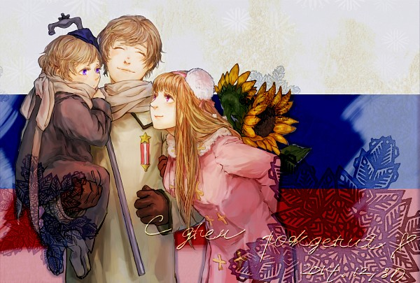 Tags: Anime, Pixiv Id 2835191, Axis Powers: Hetalia, Russia, Russia (Female), Russian Text, Gray Neckwear, Flag Background, Pixiv, PNG Conversion, Fanart, Nyotalia, Fanart From Pixiv