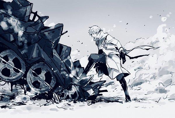 Tags: Anime, Pixiv Id 11305923, Axis Powers: Hetalia, Russia, Floating Scarf, Destruction, Gray, Tank, Pixiv, Fanart, Fanart From Pixiv