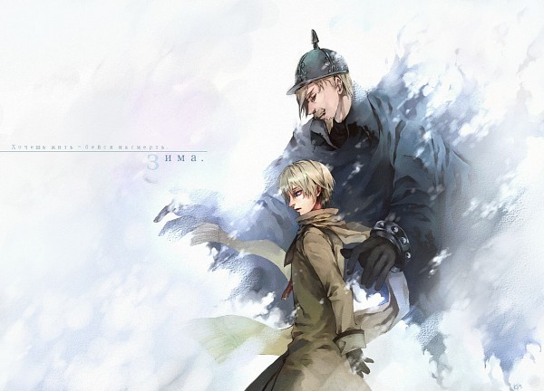 Tags: Anime, Pixiv Id 519341, Axis Powers: Hetalia, General Winter, Russia, Russian Text, Pixiv, Soviet Union, Allied Forces