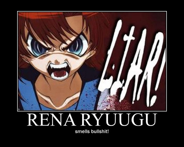 Tags: Anime, Suzuragi Karin, Higurashi no Naku Koro ni, Ryuuguu Rena, Demotivational Poster, Scan, Manga Page