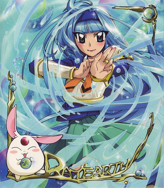 Tags: Anime, Ishida Atsuko, TMS Entertainment, Magic Knight Rayearth, Ryuuzaki Umi, Mokona Modoki, DVD (Source), Official Art, Scan