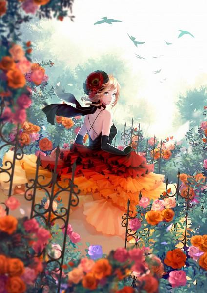 Tags: Anime, SIRO, Umineko no Naku Koro ni, Depth Of Field, Garden, Rose Bush, Pixiv, Mobile Wallpaper, Original