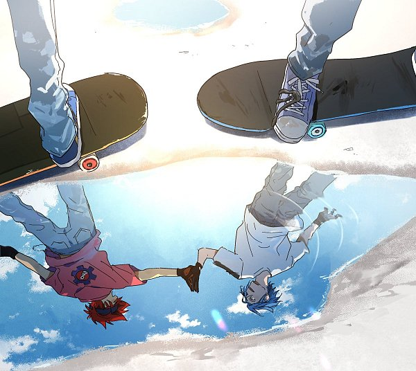 Tags: Anime, Kok Esk8, SK8 the Infinity, Kyan Reki, Hasegawa Langa, Skateboarding, Water Reflection, Twitter