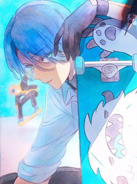 Tags: Anime, Namanikujyanaiz, SK8 the Infinity, Hasegawa Langa, Kyan Reki, Skateboard, Traditional Media