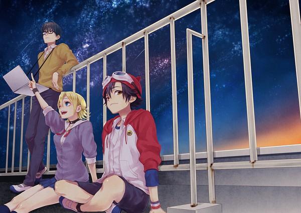 Tags: Anime, Maca, SKET Dance, Usui Kazuyoshi, Fujisaki Yusuke, Onizuka Hime, School Rooftop, Pixiv, Fanart, Fanart From Pixiv
