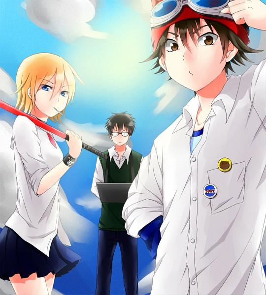 Tags: Anime, Muta (Pixiv265722), SKET Dance, Usui Kazuyoshi, Fujisaki Yusuke, Onizuka Hime, Hockey Stick, Pixiv, Fanart, Fanart From Pixiv
