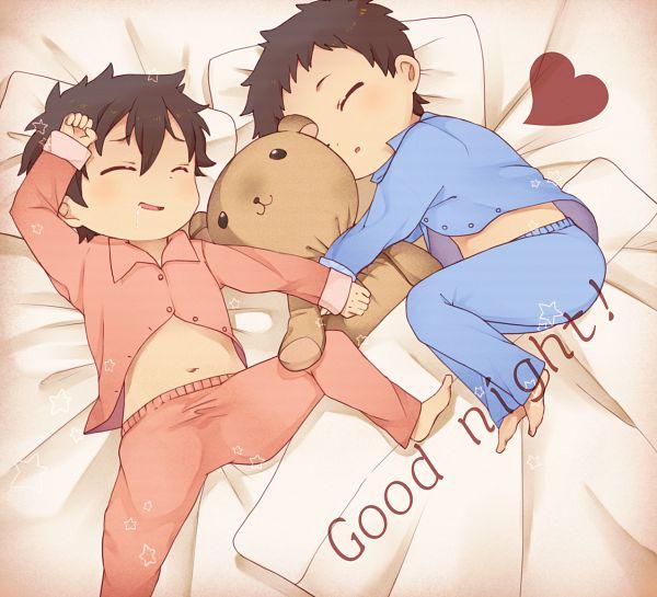 Tags: Anime, Ojisan (Sabayomi), SKET Dance, Tsubaki Sasuke, Fujisaki Yusuke, Text: Good Night, Pixiv, Fanart, PNG Conversion