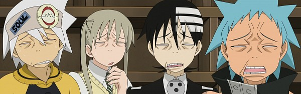 Tags: Anime, SOUL EATER, Death the Kid, Maka Albarn, Soul Eater Evans, Black Star, Excalibur-face, Twitter Header