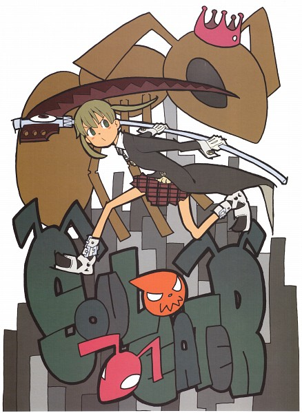 Tags: Anime, Ohkubo Atsushi, SOUL EATER, SOUL EATER SOUL ART, Soul Eater Evans, Maka Albarn, Soul Eater Evans (Weapon Form), Official Art, Scan