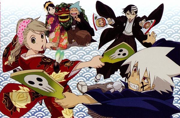 Tags: Anime, Itou Yoshiyuki, SQUARE ENIX, BONES (Studio), SOUL EATER, Maka Albarn, Soul Eater Evans, Nakatsukasa Tsubaki, Black Star, Death the Kid, Hanetsuki, Paddle, Paint On Face