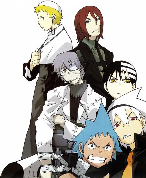 Tags: Anime, SQUARE ENIX, SOUL EATER, Black Star, Death the Kid, Spirit Albarn, Franken Stein, Justin Law, Soul Eater Evans, Official Art, Scan