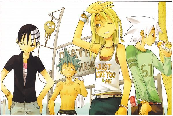 Tags: Anime, Ohkubo Atsushi, SQUARE ENIX, SOUL EATER, SOUL EATER SOUL ART, Soul Eater Evans, Black Star, Death the Kid, Maka Albarn, Official Art, Scan