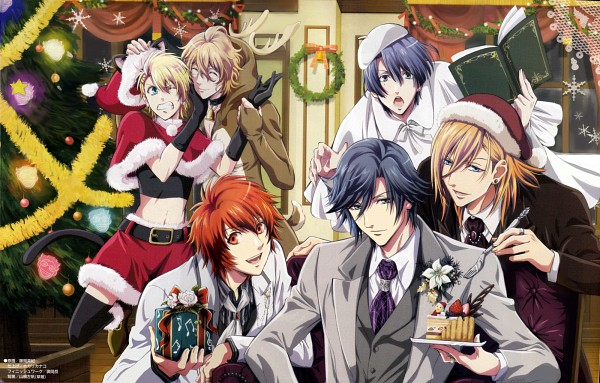 Tags: Anime, Uta no☆prince-sama♪, Shinomiya Natsuki, Ittoki Otoya, Jinguji Ren, Hijirikawa Masato, Ichinose Tokiya, Kurusu Shou, Reindeer Costume, Christmas Ornament, Wreath, Poster (Source), Official Art
