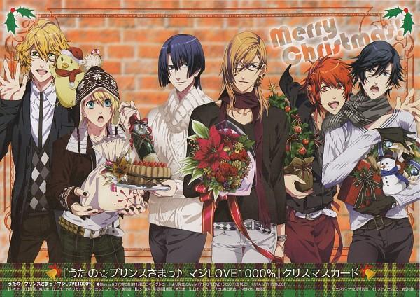 Tags: Anime, Uta no☆prince-sama♪, Ittoki Otoya, Jinguji Ren, Hijirikawa Masato, Ichinose Tokiya, Kurusu Shou, Shinomiya Natsuki, Candy Cane, Champagne, Scan, Official Art, ST☆RISH