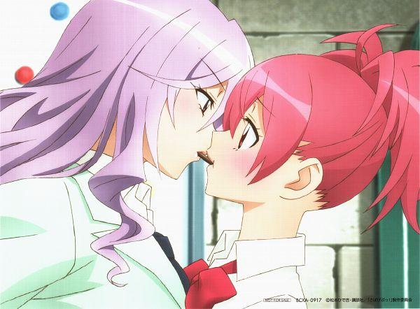 Tags: Anime, Pierrot Plus, Sabagebu!, Ootori Miou, Sonokawa Momoka, Hair Up, Pocky Game, Scan, Official Art
