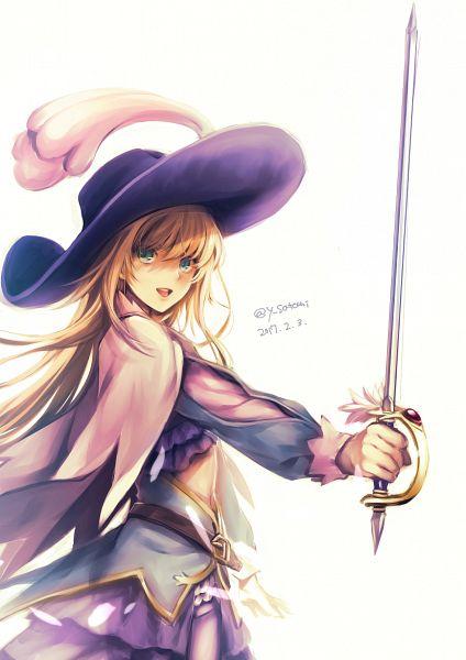 Tags: Anime, Satomi Yoshitaka, Fate/Grand Order, Saber (Chevalier d'Eon), Rapier, Hat Feather, Mobile Wallpaper