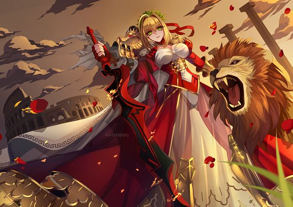 Tags: Anime, Sigriddis, Fate/Grand Order, Saber (Fate/EXTRA), Pixiv, Facebook Cover, Fanart, Fanart From Pixiv