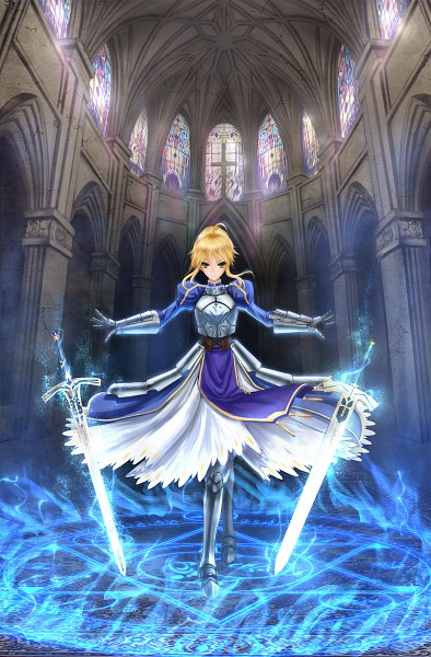 Tags: Anime, Zhouran, Fate/stay night, Saber (Fate/stay night), Church, Stained Glass, Pixiv, Fanart, Fanart From Pixiv
