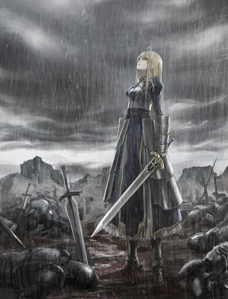 Tags: Anime, Zhouran, Fate/stay night, Saber (Fate/stay night), Gray, War, Fanart