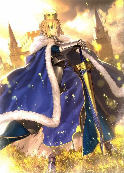 Tags: Anime, Takeuchi Takashi, TYPE-MOON, Fate/stay night, Saber (Fate/stay night), Royal Robe, Avalon (Sheath), CD (Source), Mobile Wallpaper, Scan, Official Art