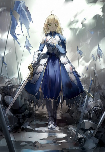 Tags: Anime, Nine (Pixiv3875056), Fate/stay night, Saber (Fate/stay night), Puddle, Revision, Fanart From Pixiv, Fanart, Mobile Wallpaper, Pixiv