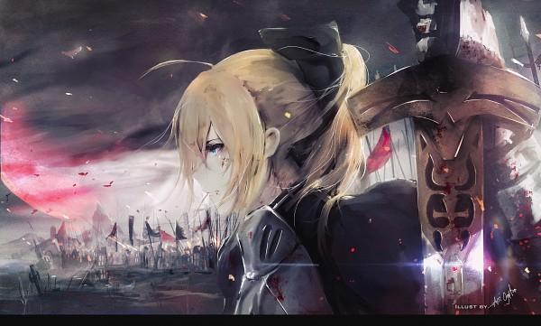Tags: Anime, Aoi Ogata, Fate/stay night, Saber (Fate/stay night), War, Red Moon, deviantART, Self Made, Fanart, Fanart From DeviantART, Wallpaper
