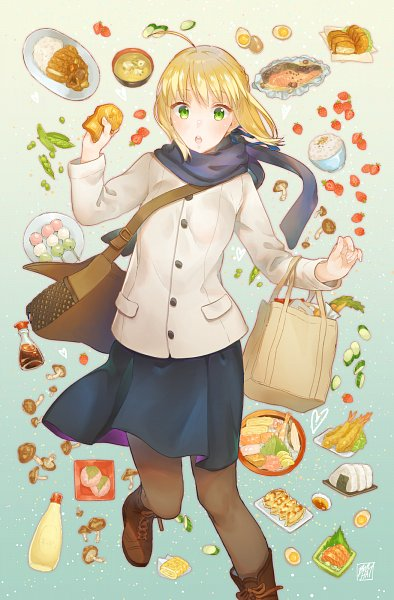Tags: Anime, Pixiv Id 4422668, Emiya-san Chi no Kyou no Gohan, Fate/stay night, Saber (Fate/stay night), Shrimp Tempura, Onigiri, Mayonnaise, Pixiv