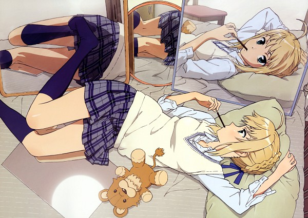 Tags: Anime, Hiramatsu Tadashi, TYPE-MOON, Fate/stay night - Saber Portraits, Fate/stay night, Saber (Fate/stay night), Stuffed Lion, Official Art, Scan