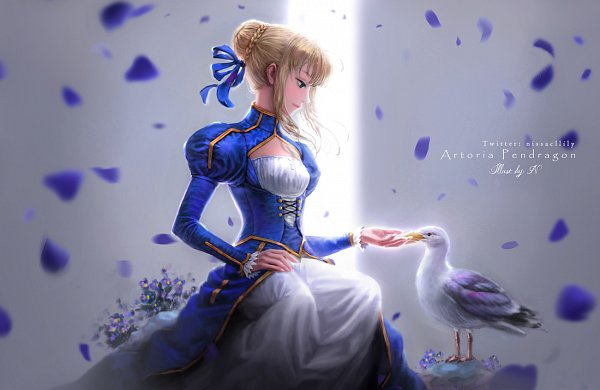 Tags: Anime, Issac Lily, Fate/stay night, Saber (Fate/stay night), Seagull, Pixiv, Facebook Cover, Fanart From Pixiv, Fanart