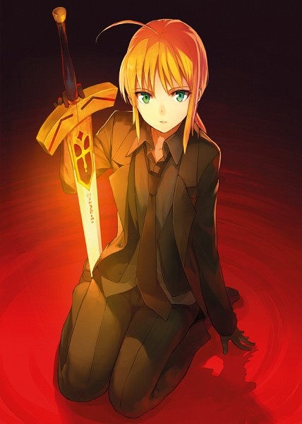 Tags: Anime, Shirabii, TYPE-MOON, Fate/zero, Saber (Fate/stay night), Adjusting Tie, Fanart, Pixiv, Mobile Wallpaper