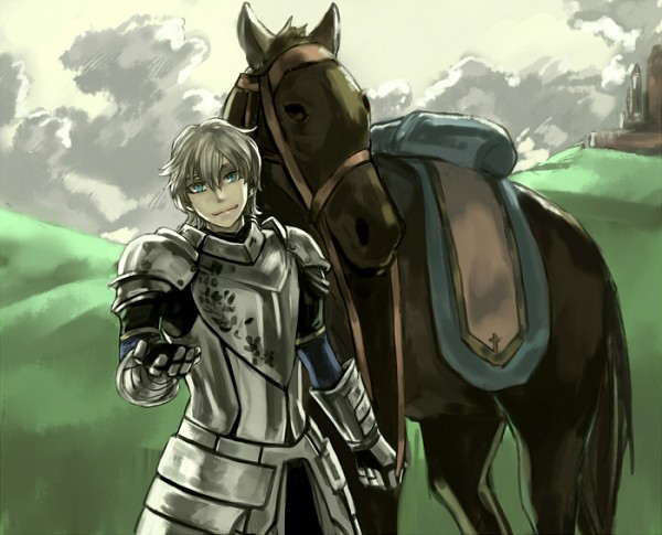 Tags: Anime, Dith Ytk, Fate/EXTRA, Saber (Gawain), Hill, Knight