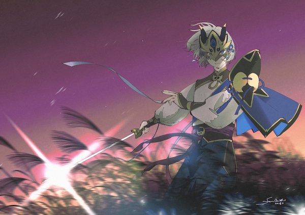 Tags: Anime, Pixiv Id 1517963, Fate/Grand Order, Saber (Lanling Wang), Purple Sky, Fanart From Pixiv, Pixiv, Fanart