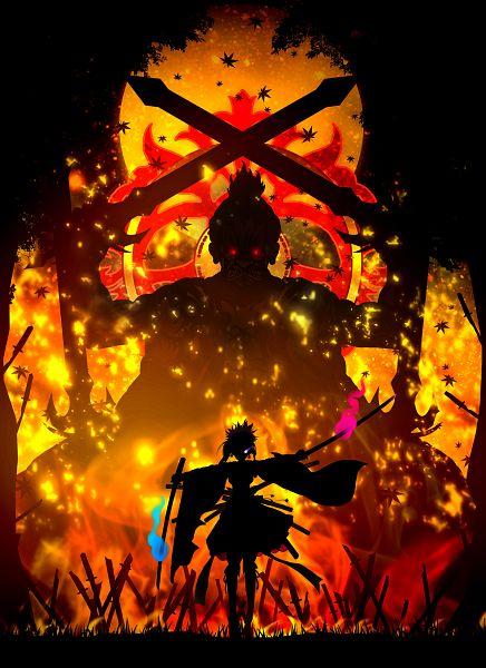Tags: Anime, Harada Miyuki, Fate/Grand Order, Saber (Miyamoto Musashi), God, Kurikara Tenshou, Fiery Eyes, Mobile Wallpaper, Pixiv, Fanart From Pixiv, Fanart
