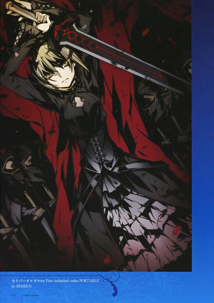 Tags: Anime, BUNBUN, TYPE-MOON, TYPE-MOON 10th Anniversary Phantasm, Fate/stay night, Saber (Fate/stay night), Saber Alter, Excalibur Morgan, Mobile Wallpaper, Scan