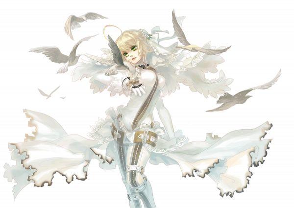 Tags: Anime, Mizukai, Fate/EXTRA, Fate/EXTRA CCC, Saber (Fate/EXTRA), Saber Bride, Padlock, Pixiv, Fanart