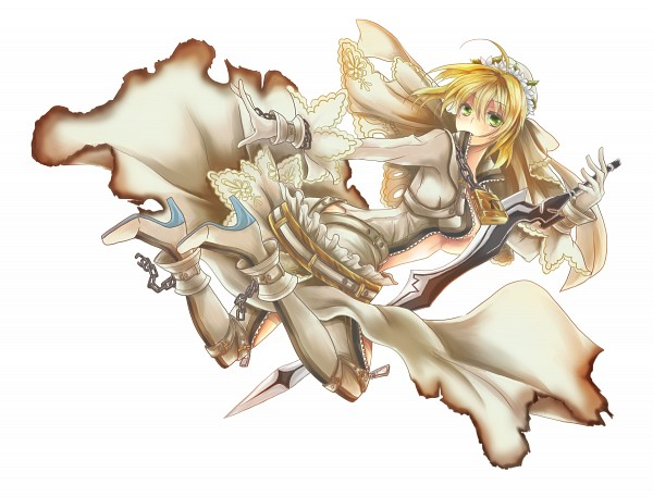 Tags: Anime, Pixiv Id 2035565, Fate/EXTRA CCC, Fate/EXTRA, Saber (Fate/EXTRA), Saber Bride, Aestus Estus, Pixiv, Fanart From Pixiv, Fanart, PNG Conversion