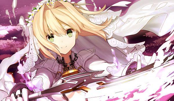 Tags: Anime, Shima Shinoji, Fate/EXTRA CCC, Fate/EXTRA, Saber Bride, Saber (Fate/EXTRA), Aestus Estus, PNG Conversion, Revision