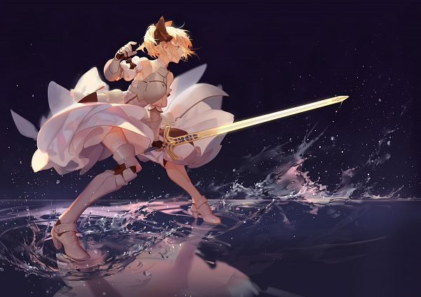 Tags: Anime, Asukaziye, Fate/unlimited codes, Saber Lily, Saber (Fate/stay night), Walking On Water, Caliburn, Pixiv, Fanart From Pixiv, Fanart, Revision